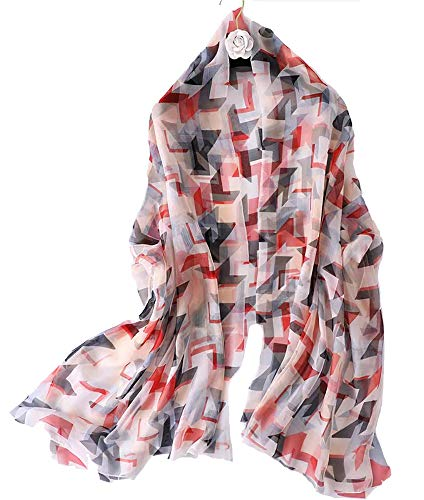 ANDANTINO Lightweight Floral Print Spring Summer Scarf for Women Soft Breathable Sunscreen Shawls- Headscarf for girls (Geometric Pattern) ()