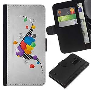 LG G3 / D855 / D850 / D851 Modelo colorido cuero carpeta tirón caso cubierta piel Holster Funda protección - Drawing Stripes Abstract Grey Gray