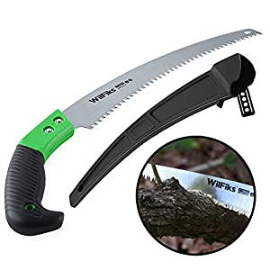 "WilFiks Razor Sharp 13"" Heavy Duty Curved Hand Saw, Perfect For Sawing, Trimming, Gardening, Pruning & Cutting Wood, Drywall & More, Comfortable Ergonomic Non-Slip Handle, Includes A Protective Sheath"