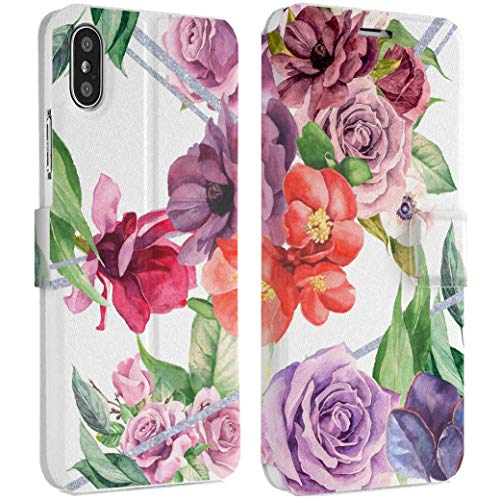 - Wonder Wild Purple Rose iPhone Wallet Case X/Xs Xs Max Xr Case 7/8 Plus 6/6s Plus Card Holder Accessories Smart Flip Hard Design Protection Cover Peonies Flowers Bright Colorful Beautiful Girly