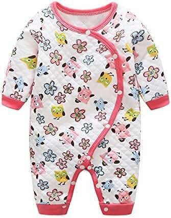 Baby Boys Girls Long Sleeve Stripe Penguin One-Piece Romper