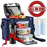 powder room ideas Meal Prep Lunch Bag / Box For Men, Women + 3 Large Food Containers (45 Oz.) + 2 Big Reusable Ice Packs + Shoulder Strap + Shaker With Storage. Insulated Lunchbox Cooler Tote. Adult Portion Control Set