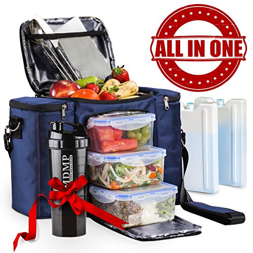 (Meal Prep Lunch Bag / Box For Men, Women + 3 Large Food Containers (45 Oz.) + 2 Big Reusable Ice Packs + Shoulder Strap + Shaker With Storage. Insulated Lunchbox Cooler Tote. Adult Portion Control Set)