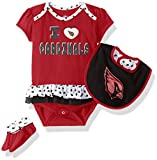 NFL Girls Newborn Arizona Cardinals Team Love Onesie, Bib and Bootsies, 12 Months