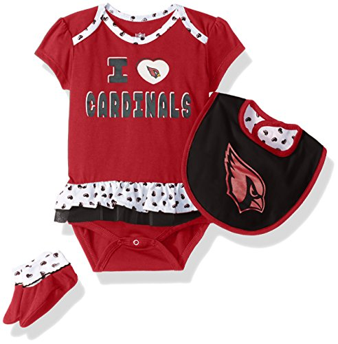 NFL Girls Newborn Arizona Cardinals Team Love Onesie, Bib and Bootsies, 3-6 (Arizona Cardinals Nfl Set)