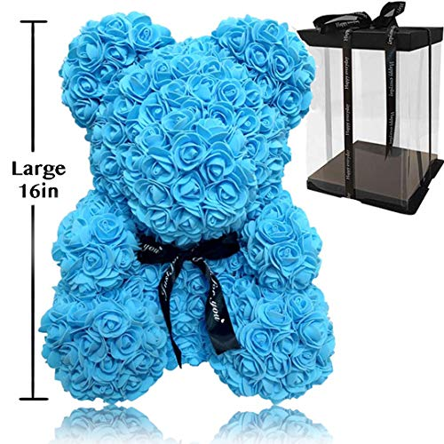 Rose Flower Bear - Trendiees Fully Assembled 16 inch Hugz Teddy Bear -Over 20 Dozen Artificial Flowers - Best Gift for Valentines Day, Anniversary, Birthdays & Bridal Showers (Blue) - w/Clear Gift Box (Box Day Valentines Gifts)