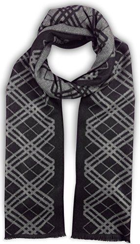 (Bleu Nero Luxurious Winter Scarf Premium Cashmere Feel Unique Design Selection (Black/Grey Diagonal Plaid + Border))