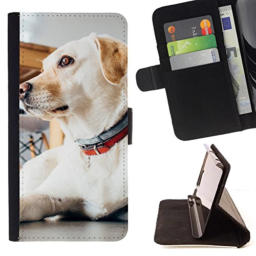 ICE CASE - FOR Apple Iphone 7 - Animal Dog Pet Indoors - Painting Art Smile Face Style Design PU Leather Flip Stand Case Cover