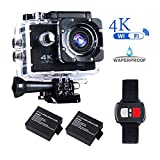 #1: BrosFuture 4k Action Camera with Wifi 30M Waterproof Sports Camera and 2.4G Remote Contral /2 pcs Rechargeable Batteries/ 170 Degree Wide Angle- Package including All Accessories Kits,1 Yr Warranty