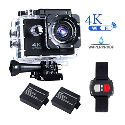 BrosFuture 4k Action Camera with Wifi 30M Waterproof Sports Camera and 2.4G Remote Contral /2 pcs Rechargeable Batteries/ 170 Degree Wide Angle- Package including All Accessories Kits,1 Yr Warranty Drive Housing Kit