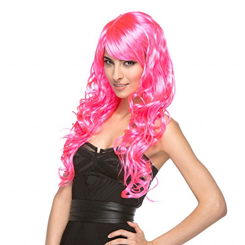 [Melrose Wig - Characters (Hot Pink)] (Flame Hair Costume)