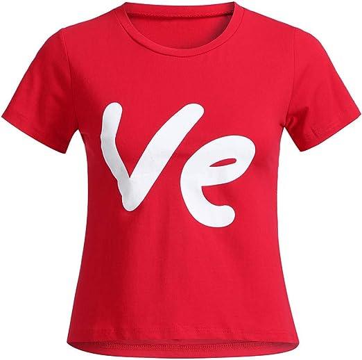 Camiseta De Familia De San Valentin para Primavera Y Verano Camisa De Manga Corta La Cuello Redondo del Streetwear, Fiesta, Viajes Romantica Blusa De Parejas T Shirt para Hombre Mujers Niños: Amazon.es: