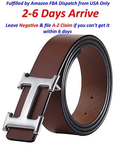 Designer Buckle (Fashion Designer Silver H Buckle Unisex Belt for Men or Women {3.8cm Belt Width} (120cm (Waist 36