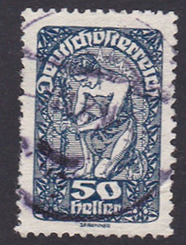 Republic of German Austria 50 heller Postage Stamp