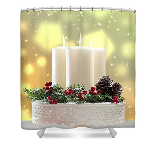 Pixels Shower Curtain (74'' x 71'') ''Christmas Candle Decoration'' by Pixels
