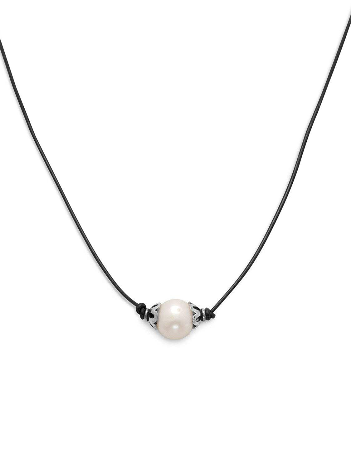 Single White Cultured Freshwater Pearl on Black Leather Cord Necklace Sterling Silver