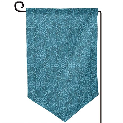 Hucuery Seasonal Garden Flag, Moroccan Teal Textured Pattern Vertical Double-Sided 12.5 X 18 in Courtyard Decoration Durable, Lovely Gifts