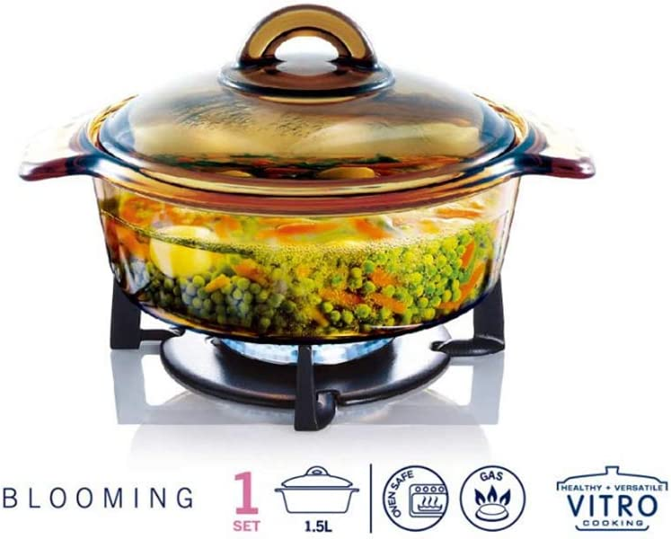 Luminarc Vitro Blooming Heat-resistant Glass Cooking Pot (1L)
