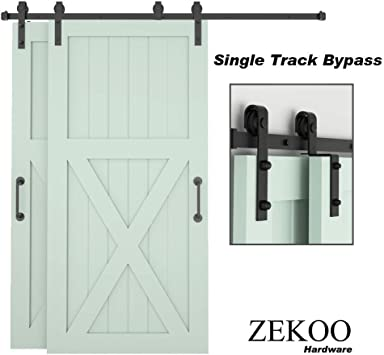 Amazon Com Zekoo Bypass Sliding Barn Door Hardware Kit Single Track One Piece Rail Double Wooden Doors Use Flat Track Roller Low Ceiling 6 Ft Single Track Bypass Home Improvement