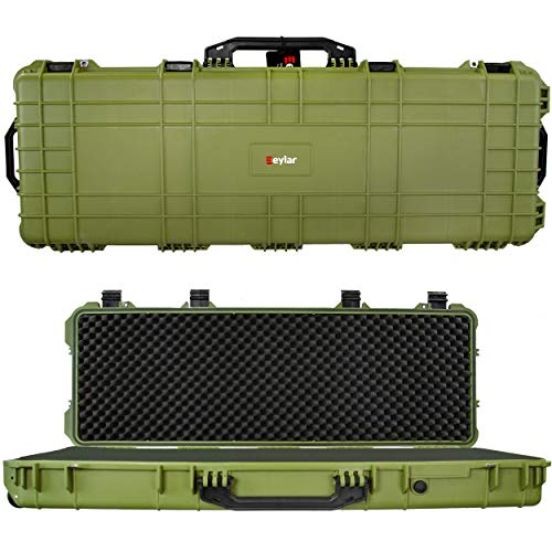 Eylar 44 Inch Protective Roller Tactical Rifle Hard Case with Foam, Mil-Spec Waterproof & Crushproof, Two Rifles Or Multiple Guns, Pressure Valve with TSA Approved Lockable Fittings OD Green