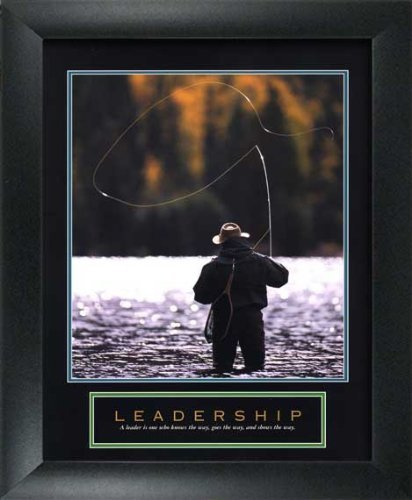 WallsThatSpeak Leadership Fly Fishing Framed Motivational Poster, 8 x 10-Inch, Blue/Gold