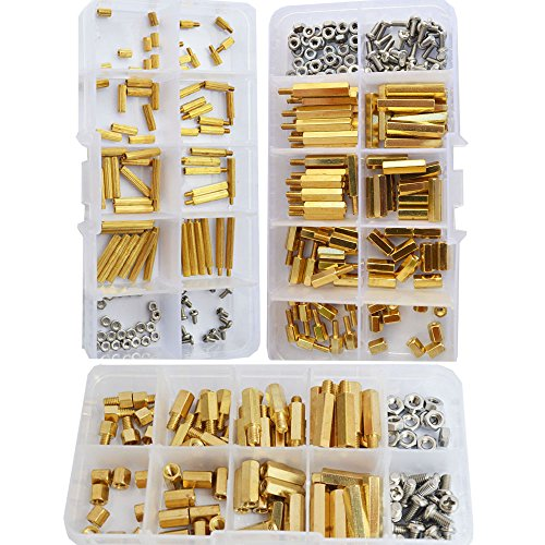 (M2 M3 M4 Hex Brass Standoff Hexanonal Threaded Pillar Spacer Mounts Screw Nut Bolt Motherboard Standoffs Assortment Kit Prototyping Accessories for PCB,Quadcopter Drone,Computer Circuit Board 360pcs)