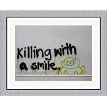 Killing With a Smile - Singapore Framed Art Print Wall Picture, Flat Silver Frame, 30 x 24 inches