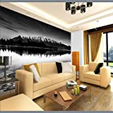 Ohcde Dheark Wall Panel 3D Wallpaper Snow Mountain Lake Photography Background Modern Art Mural For Living Room Large Painting Home Decor 350cmX245cm(137.8 by 96.5 in )