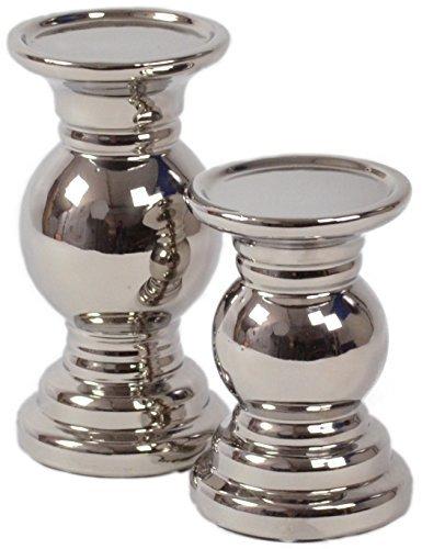 2 Set CHICCIE Keramik Kerzenhalter Racheal Silber 20cm 15cm - Kerzenständer Kerzenleuchter