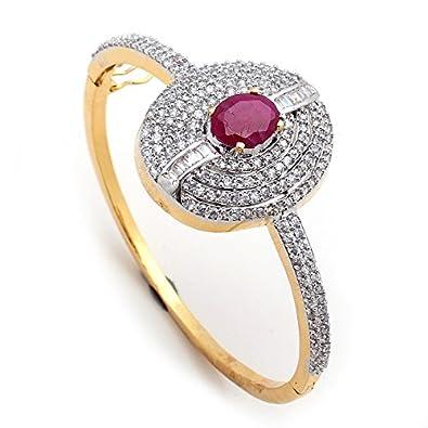 Buy Ruby bangle ad cz fashion designer tanishq sterling silver new
