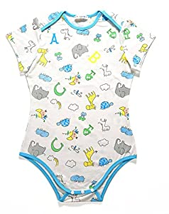 LittleForBig Adult Baby & Diaper Lover (ABDL) Snap Crotch Romper Onesie - Giraffe and Zoo Animals Pattern