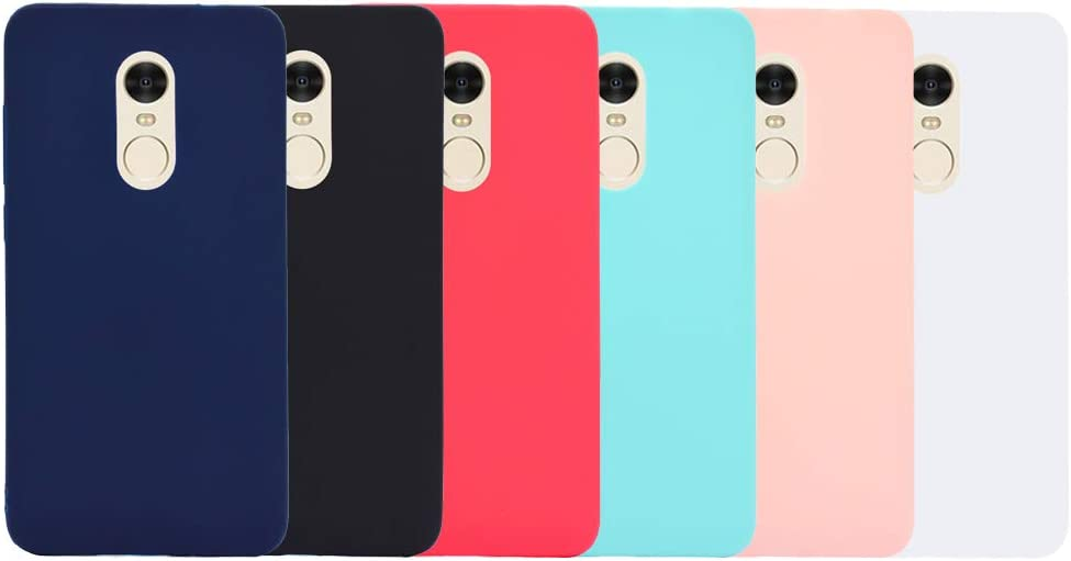 6X Funda Xiaomi Redmi Note 4 Silicona Carcasa Suave Flexible TPU Gel CoverTp Ultra Fina Delgado Case Cubierta Protectora Caja para Xiaomi Redmi Note 4 Negro Azul Rojo Verde Rosa Blanco