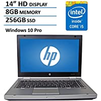 HP 14 HD Elitebook 8470P Business Laptop Computer, Intel Dual Core i5 2.6Ghz Processor, 8GB Memory, 256GB SSD HDD, DVD, VGA, RJ45, Windows 10 Professional (Certified Refurbishd)