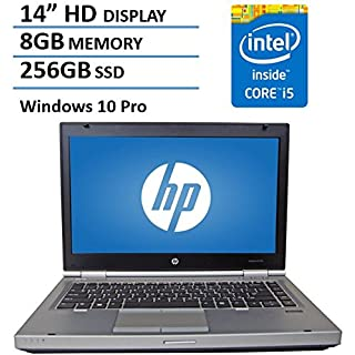"HP 14"" HD Elitebook 8470P Business Laptop Computer, Intel Dual Core i5 2.6Ghz Processor, 8GB Memory, 256GB SSD HDD, DVD, VGA, RJ45, Windows 10 Professional (Renewed)"