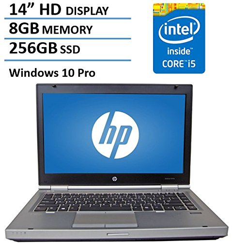 "HP 14"" HD Elitebook 8470P Business Laptop Computer, Intel Dual Core i5 2.6Ghz Processor, 8GB Memory, 256GB SSD HDD, DVD, VGA, RJ45, Windows 10 Professional (Renewed)"