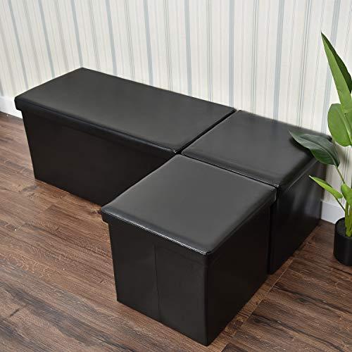 - YOURLITEAMZ 3 Piece Collapsible PU Leather Rectangular Storage Ottoman Foot Rest Stool Bench