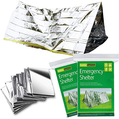 Kyriad Emergency Blankets 2 Pack,8′ X 5′ All Weather Tube Tent,Perfect Survival Gear for Adults and Kids, Equipment for Earthquake Preparedness Kit, Outdoors, Bug Out Bags, First Aid Kits