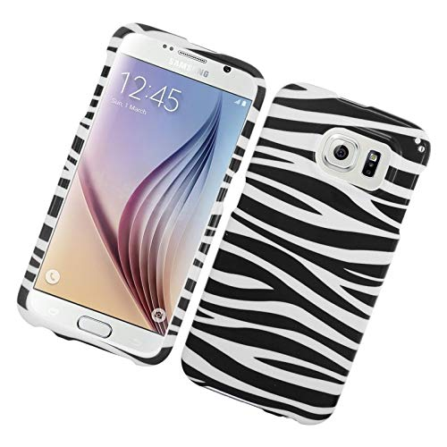 Insten Zebra Rubberized Hard Snap-in Case Cover Compatible with Samsung Galaxy S6 SM-G920, Black/White