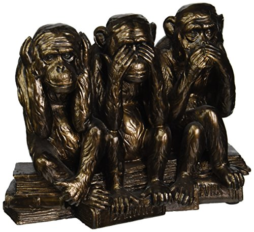 Boy Bookend (Design Toscano The Hear-No, See-No, Speak-No Evil Monkeys Statue in Faux Bronze)