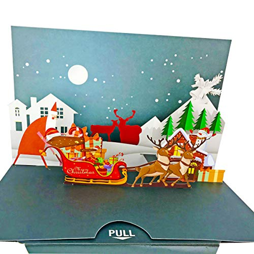 3D Pop Up Christmas Cards Christmas Greeting Cards Handmade Holiday Xmas Cards & Envelopes for Xmas/New Year 1 Pack