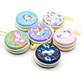 INFInxt 6 Pieces Round Zipper Organizer Earphone Case Headphones Cable and Wire Storage Box Coin Pouch for Boys (Unicorn)