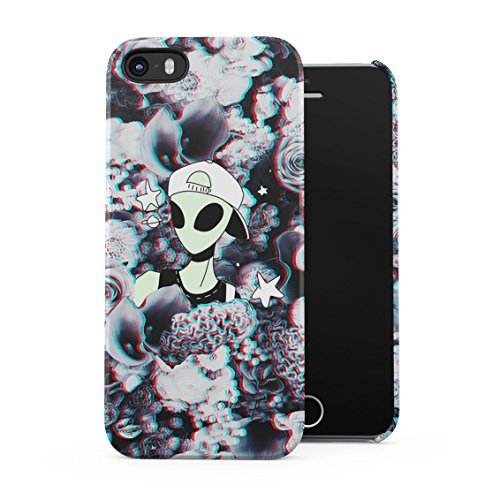 Swagy Alien Trippy Wildflowers Roses Pattern Tumblr Plastic Phone Snap On Back Case Cover Shell For iPhone 5 & iPhone 5s & iPhone SE