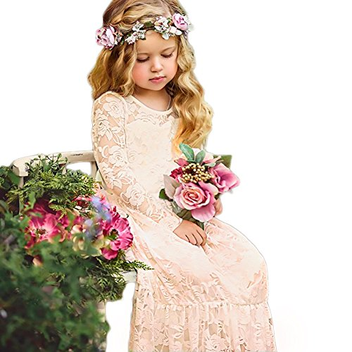 CQDY Lace Flower Girl Dress Long Sleeves Princess Communion Dresses for 2-13T (Champagne, 0-6M)