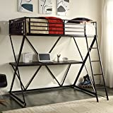 4D Concepts Zinnia Twin Loft Bed with Desk - Black