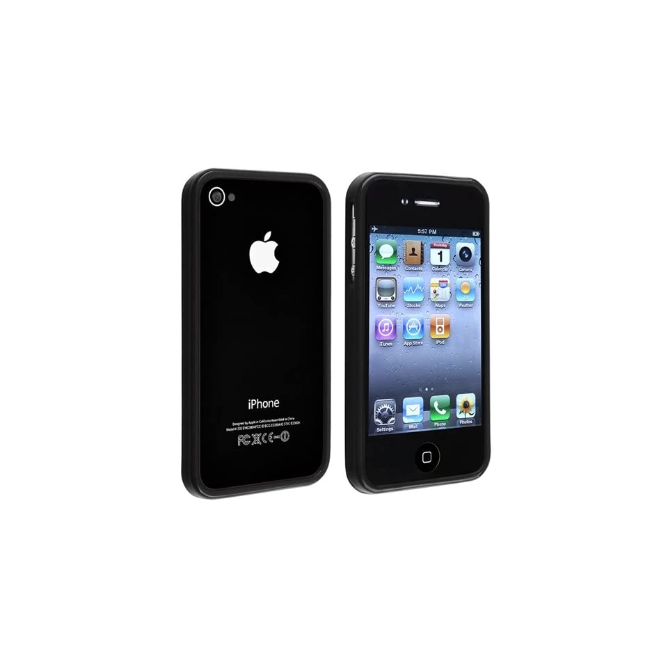 eForCity TPU Rubber Bumper Case + with Free Reusable Clear Screen Protector Compatible with Apple® iPhone® 4 4S, Black Shiny