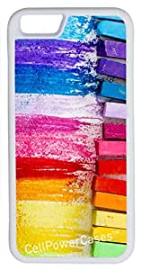 iPhone 6 Case, CellPowerCasesTM Chalk Pastels [Flex Series] -iPhone 6 (4.7) White Case [iPhone 6 (4.7) V1 White]
