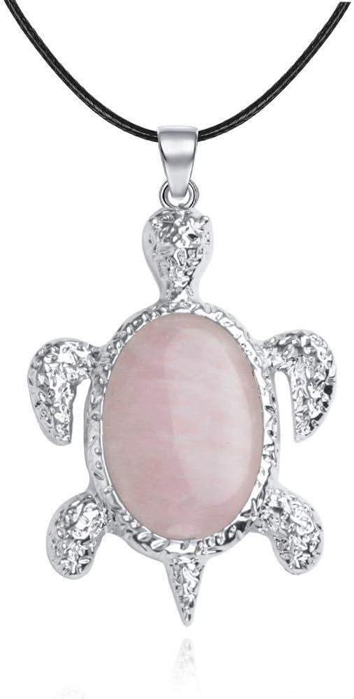 NOLOGO Gxbld-yy Joyería de los Hombres de Colgante, Collar Sano Longevidad Tortuga Piedra del Balance de curación Chakra Mujeres Colgante de Cristal (Color : Rose Crystal)