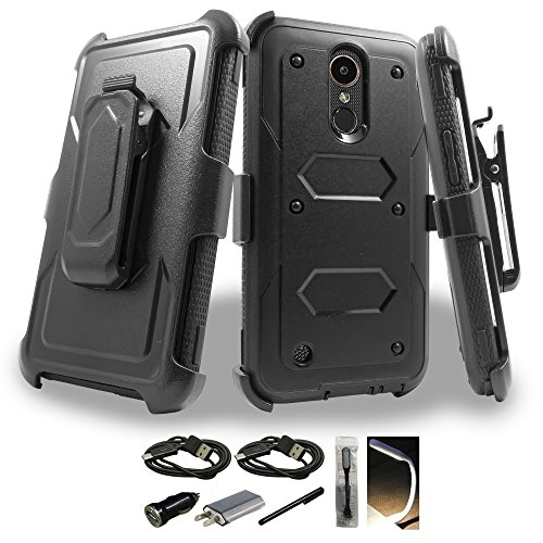 LG K20 Plus Case, Mstechcorp with Built-in [Screen Protector] Heavy Duty Full-Body Rugged Holster Armor Case [Belt Swivel Clip][Kickstand] For LG K20 Plus / K20 V, with - Tempered Glass Polycarbonate Vs