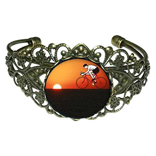 Cuff Mountain Bracelet Set (GiftJewelryShop Bronze Retro Style Olympics Cycling Mountain Bike sunset Flower Cuff Bangle Bracelets)