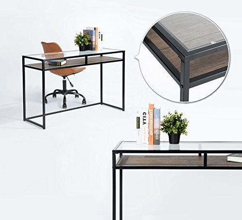 Dark Brown / Black Metal Frame / Tempered Glass Computer Laptop Writing Study Desk Modern Home Office Console Sofa Table